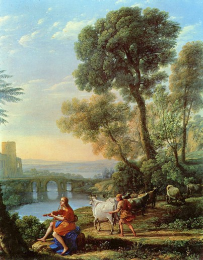 Claude Lorrain: Landscape with Apollo Guarding the Herds of Admetus and Mercury stealing them