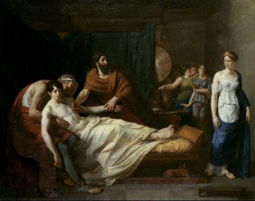 Alexandre Charles Guillemot: Erasistratus Discovering the Cause of Antiochus' Disease