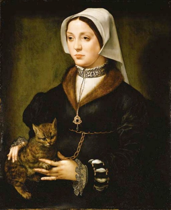 Portrait of a woman with a cat attributed to Ambrosius Benson