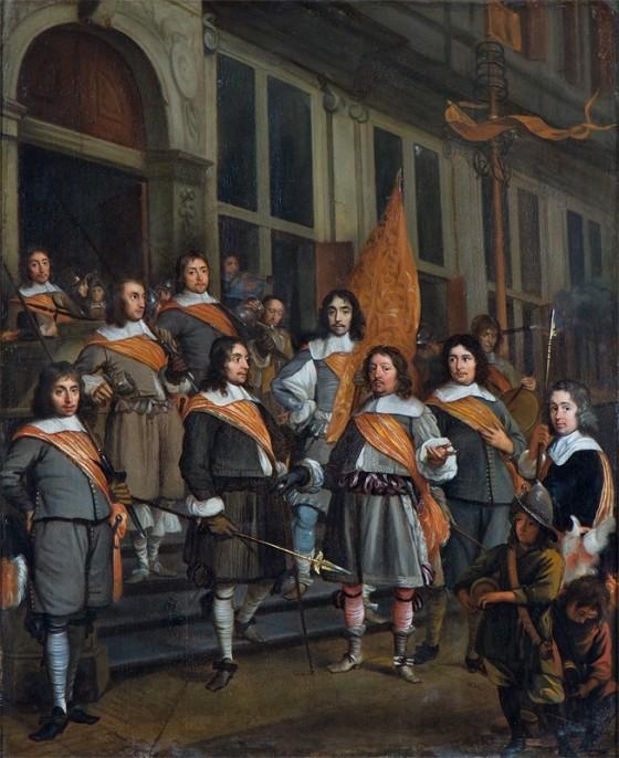 Martinus Lengele: Het uittrekken van officieren en vaandrig van het Haagse Oranjevendel, c. 1660