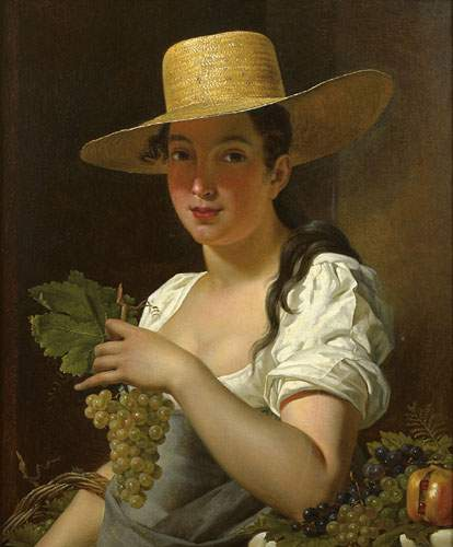 Pierre van Hanselaere: Young Woman with Hat and Grapes (1820)