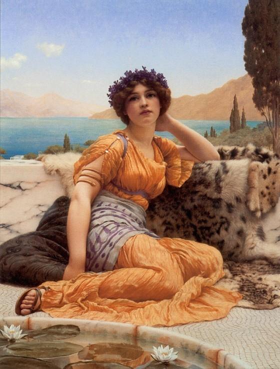 John William Godward: With Violets Wreathed (1902)